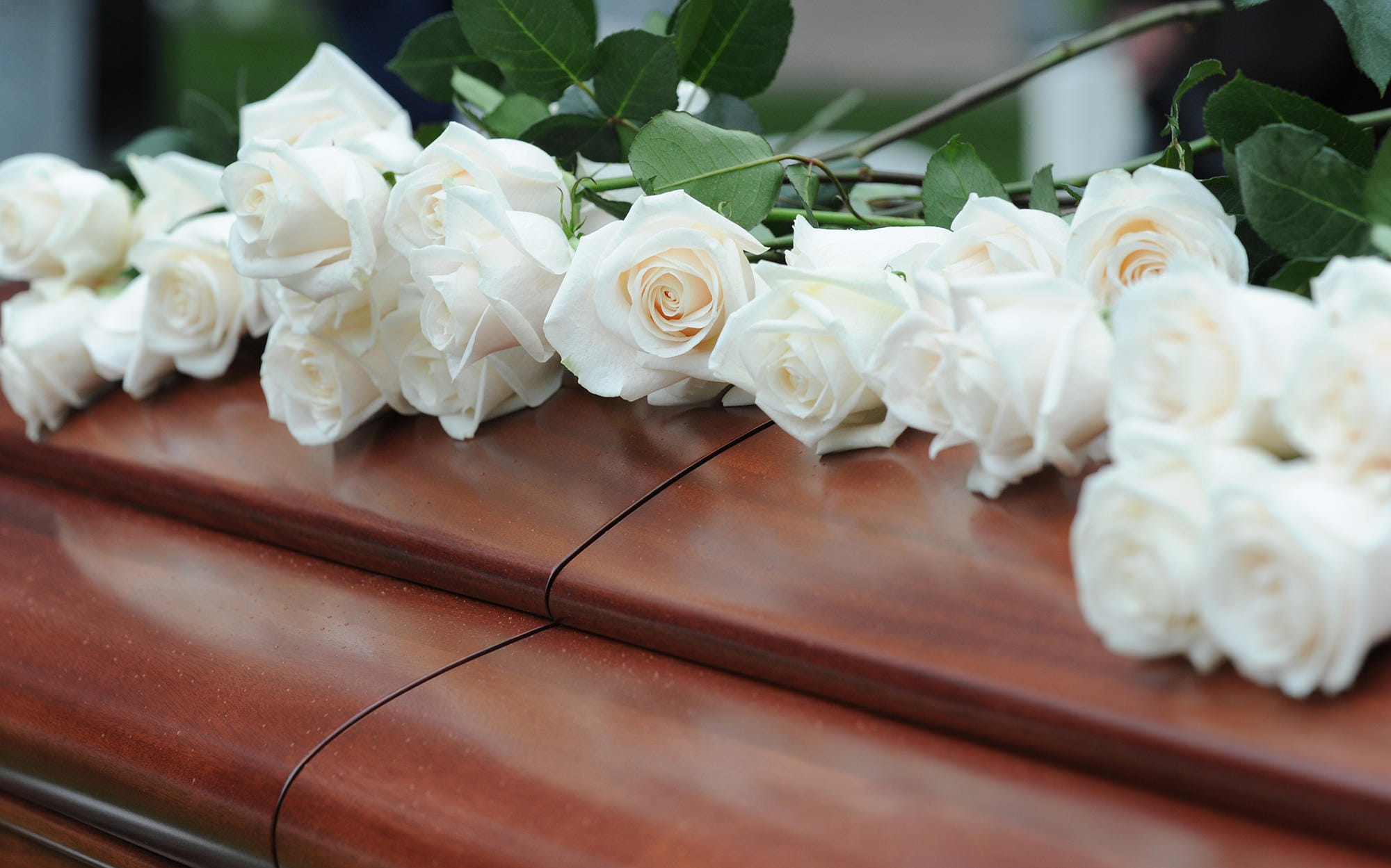 Flowers sitting on top of a casket